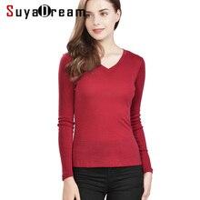 Women T shirt 100%Wool Knitted Long sleeved shirt for Women V neck 2018 FALL Winter Bottoming shirt Black Wine