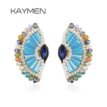 цена на New Arrival Handmade Fanned Crystal Earrings for Women Golden Plated Crystal Knitting Beads Stud Earrings Party Jewelry EA-04104