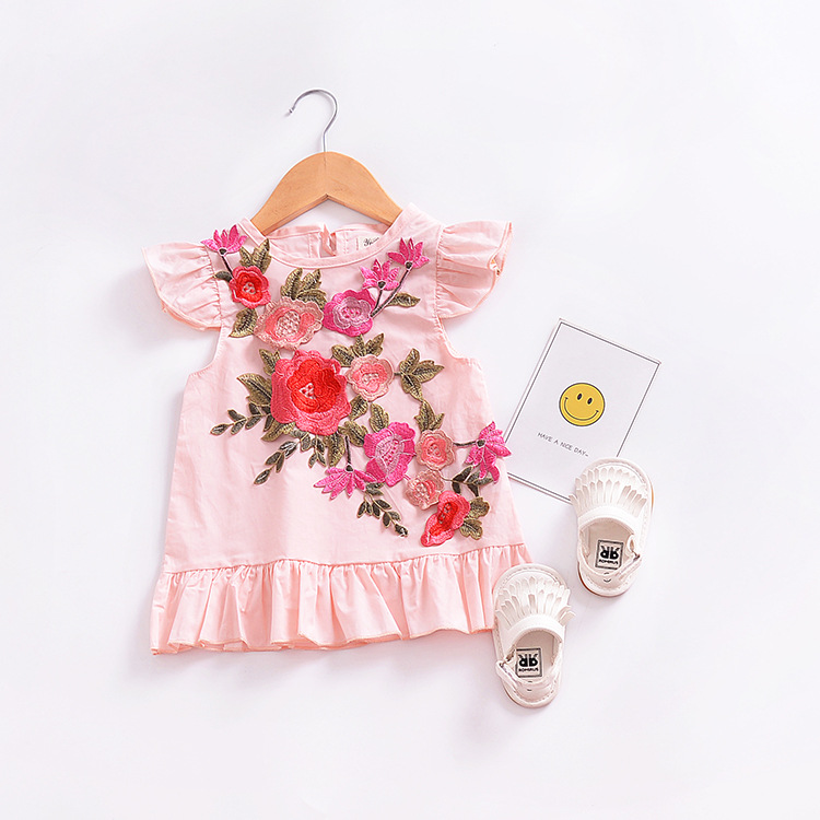 Cute Summer Baby Girl Dress Flower Dresses For Girls Cotton Floral Print Sleeveless Dress High Quality Holiday Princess Clothing