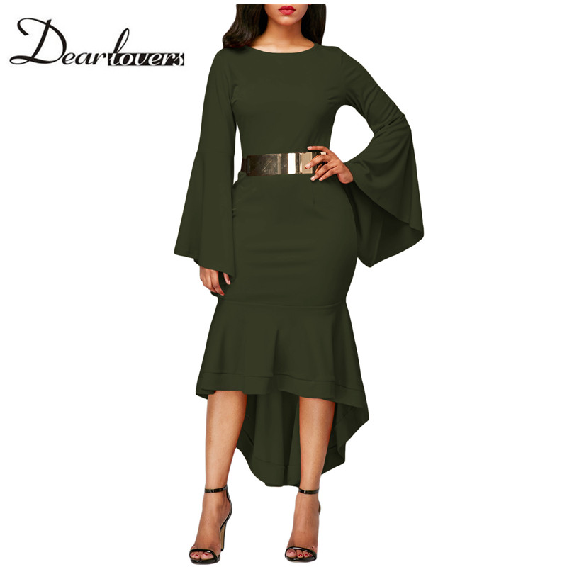 Dear lovers Autumn Winter Office Dresses for Women 2017 Elegant Bell Sleeve Vintage Bodycon Midi Dresses LC61802 Olive Green
