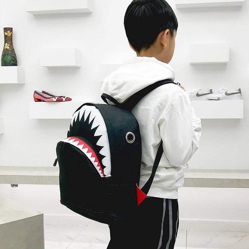 1-10 Yrs Kids Backpack 3D Shark Canvas School Kindergarten Cute Animals Bags Neoprene Boys Girls Children Backpacks Creativity