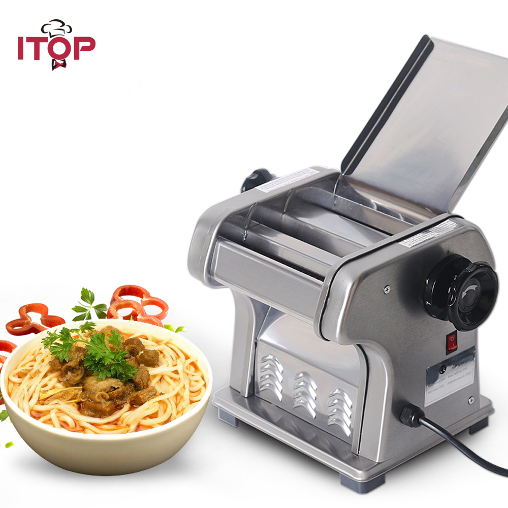 ITOP Commercial Electric Noodles Maker Pasta Cutter Machine,0.5-3mm Adjustable thickness Dough Pasta Cutter Maker 35 40kg h commercial pasta machine electric pasta noodle maker machine household noodles machine with best quality
