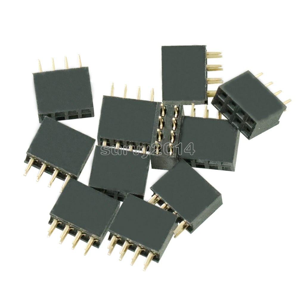 10PCS 2X4 Pin 8P 2.54mm Double Row Female Straight Header Pitch Socket Pin Strip