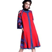 High Quality Women Long Knitting Trench Coat 2016 Winter Fashion Runway Ethnic Geometric Print Cardigans Single Breasted Coats