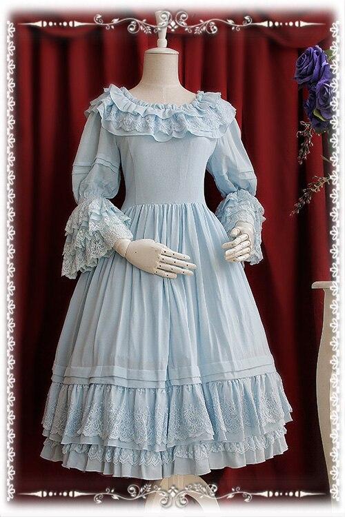 Precioso vestido clásico personalizado Lolita manga acampanada volantes gasa Vintage OP vestido de Infanta-in Vestidos from Ropa de mujer    2