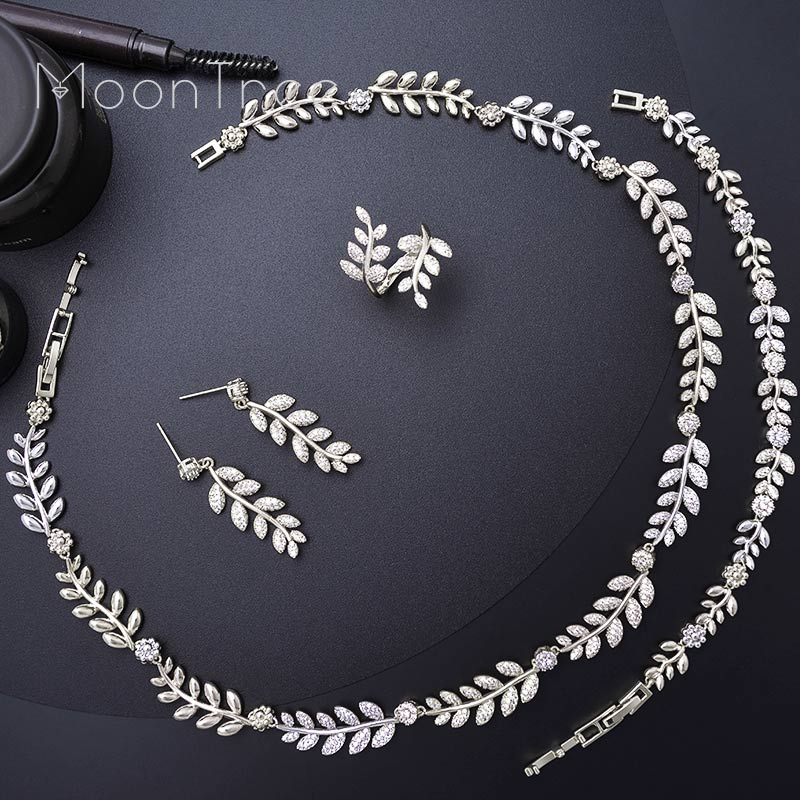 MoonTree Luxury Exclusive Leaf Leaves Full Cubic Zirconia Engagement Wedding Bridal Necklace Bracelet Earring Ring SetMoonTree Luxury Exclusive Leaf Leaves Full Cubic Zirconia Engagement Wedding Bridal Necklace Bracelet Earring Ring Set