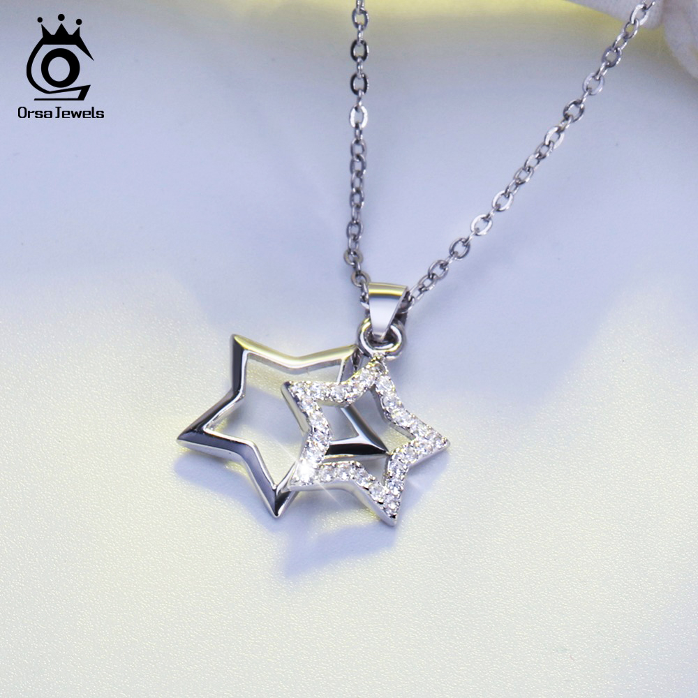 ORSA JEWELS 100 Real 925 Sterling Silver Pendants Necklaces Shiny AAA Cubic Zircon Star Shape Women ORSA JEWELS 100% Real 925 Sterling Silver Pendants& Necklaces Shiny AAA Cubic Zircon Star Shape Women Fine Jewelry SN82
