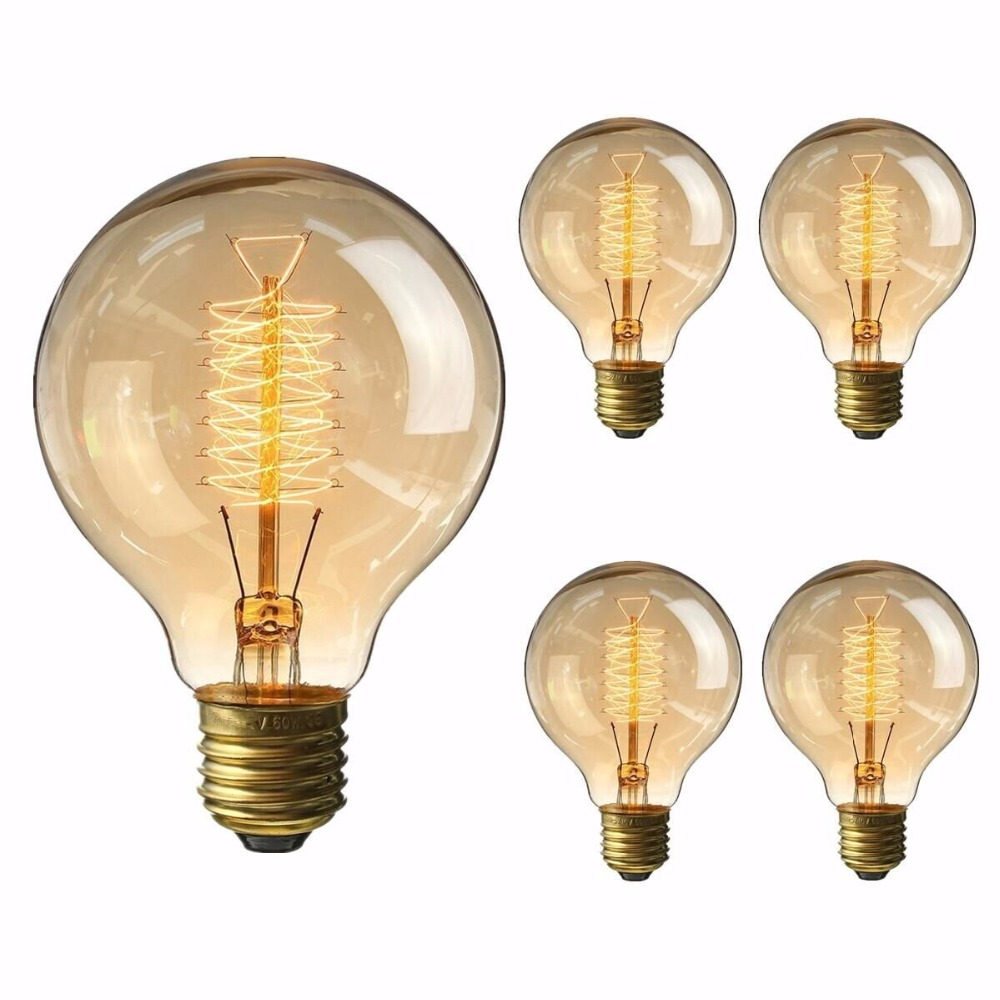 Vintage Edison Bulb 60W 40W Incandescent Antique Dimmable Light Bulb Dimmable for Home Light Fixtures Filament E27 Base G80