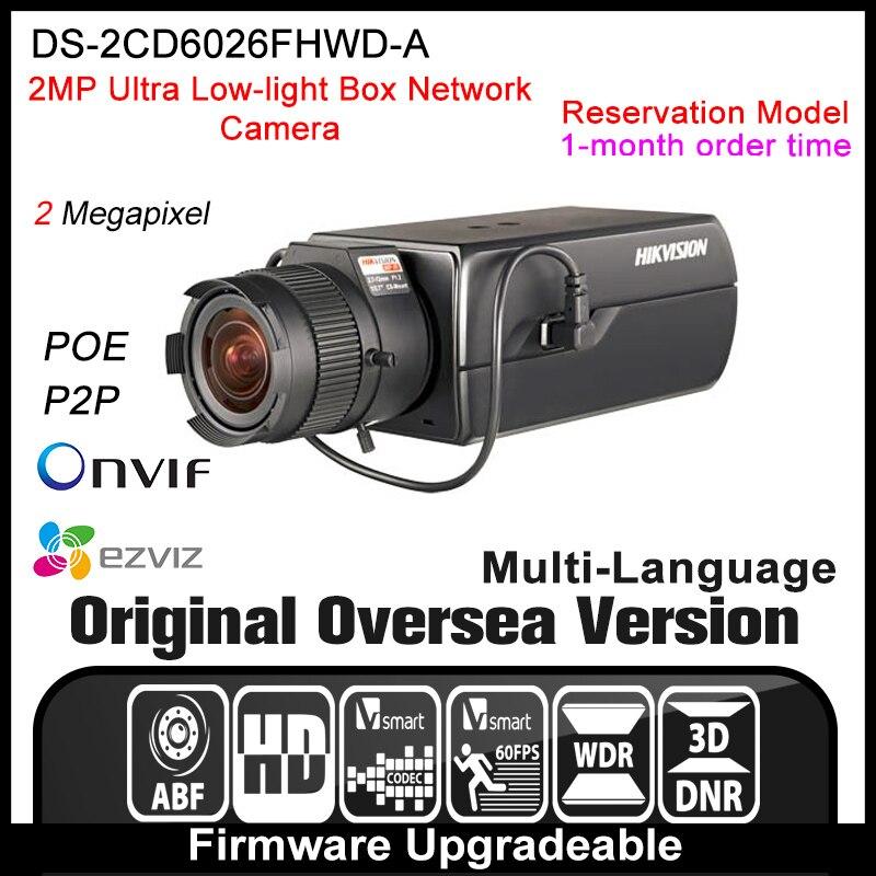HIK  DS-2CD6026FHWD-A Original English Version IP camera 2MP security camera CCTV camera P2P ONVIF POE indoor HD H.264