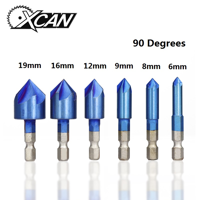 XCAN 6pcs 6-19mm 90 Degrees 5 Flutes Chamfer Drill Bit Set HSS Chamfering Cutter Nano Blue Coated Countersink Drill Bit