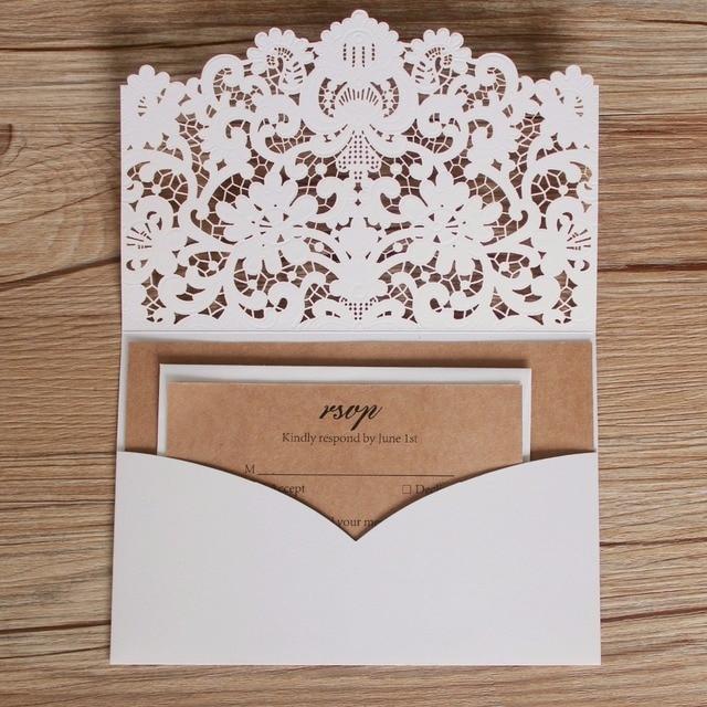 Vintage Pocket Wedding Invitations White Laser Cut Wedding Invite