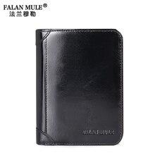 FALAN MULE Marke Echtes Leder Männer Brieftasche Qualität Male Geldbeutelgeldbörse Geld Taschen Kartenhalter Münzfach Geldbörse Herren Geldbörsen