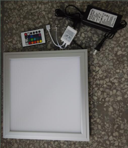 Free Shipping RGB Color Adjustable and Dimmable LED Panel Light 300x300mm with Wireless Remote Control Aluminum +PMMA Material free shipping waterproof ip65 led panel 600x600mm high bright led chips with led driver ww nw cw color temperature aluminum pmma
