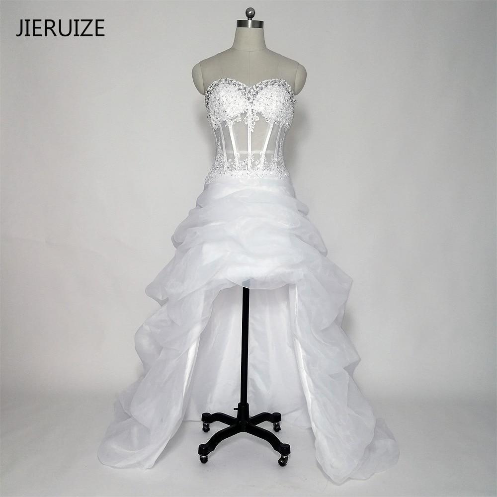 JIERUIZ Λευκά φορέματα οργάντζα δαντέλα Υψηλά χαμηλά φορέματα γάμου Beading κρύσταλλο μπροστά σύντομη μακρύ πλάτη παραλία νυφικά παραλία