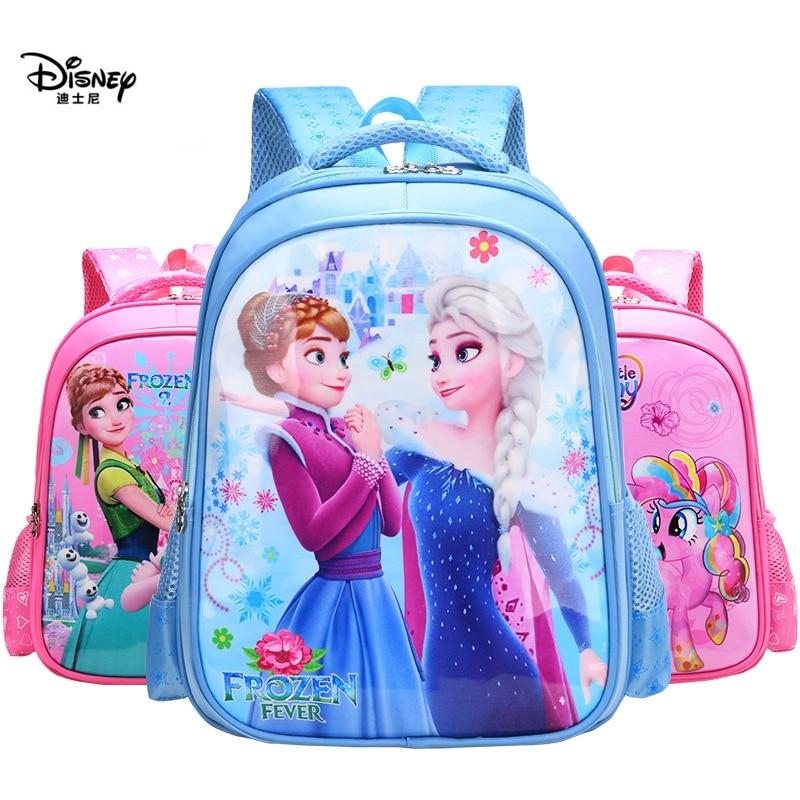 Disney Backpack 1-3 Grade Boys Girls Children Backpack Cartoon Frozen Sophia Car Waterproof Burden Reduction Travel Storage Bag