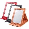 Multi-cor Padrão Jacaré Couro Espelho de Maquiagem Portátil Dobrável Espelho de Maquilhagem Mulheres Beleza Make Up