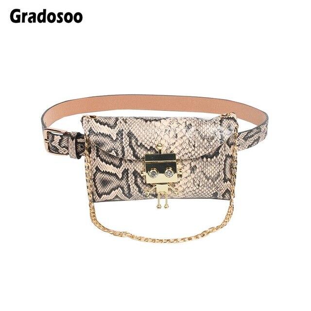 Gradosoo дизайн робота поясная сумка для Женщин змеиная поясная сумка из искусственной кожи поясная сумка 2019 цепочка, украшенная бриллиантами маленькие женские сумки LBF376