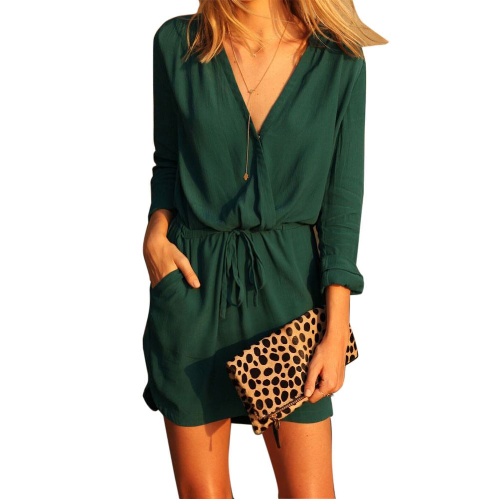 Frauen V-ausschnitt Langarm-grün Party Kleid Casual Sommer Minikleid ...