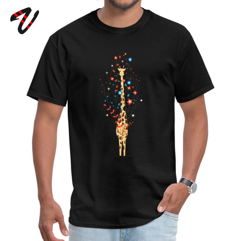 Customized Retro Men Tshirts O-Neck Short Sleeve 100% Cotton Tops Shirts Custom Tops & Tees Drop Shipping I Brought You These Flowers -11678 black