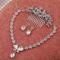 3 шт. Высокого класса кристалл бабочка подвеска ожерелье серьги гребень ювелирные изделия устанавливает оптовые свадьба ювелирные наборы