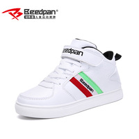 BEEDPAN Kids Casual Shoes For Boys Children Leather Sneakers Autumn Winter White High Top Solid Fashion