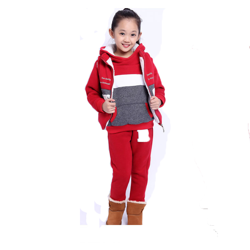 ФОТО Casual 3pcs Sets Sweatshirts Winter Costume for Girls High Quality Tracksuits for Girls Boys Children Clothes