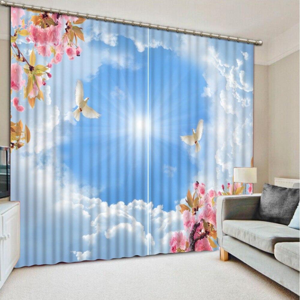 moderne chambre rideau bleu ciel blanc nuages rideau fen tre pour enfants salon chambre rideaux. Black Bedroom Furniture Sets. Home Design Ideas