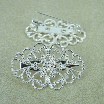32x20mm Retro Brooches Base Filigree Flower Bezel Back Pins Findings Settings Blank Multi-color DIY Jewelry Making Wholesale