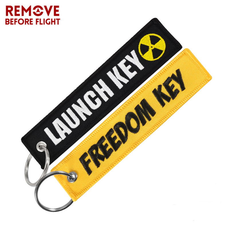 Fashion Freedom Launch Keychain For Motorcycles Cool Skull Key Fobs Key Chains Chaveiro Remove Before Flight Brand Key Tag 2 PCS