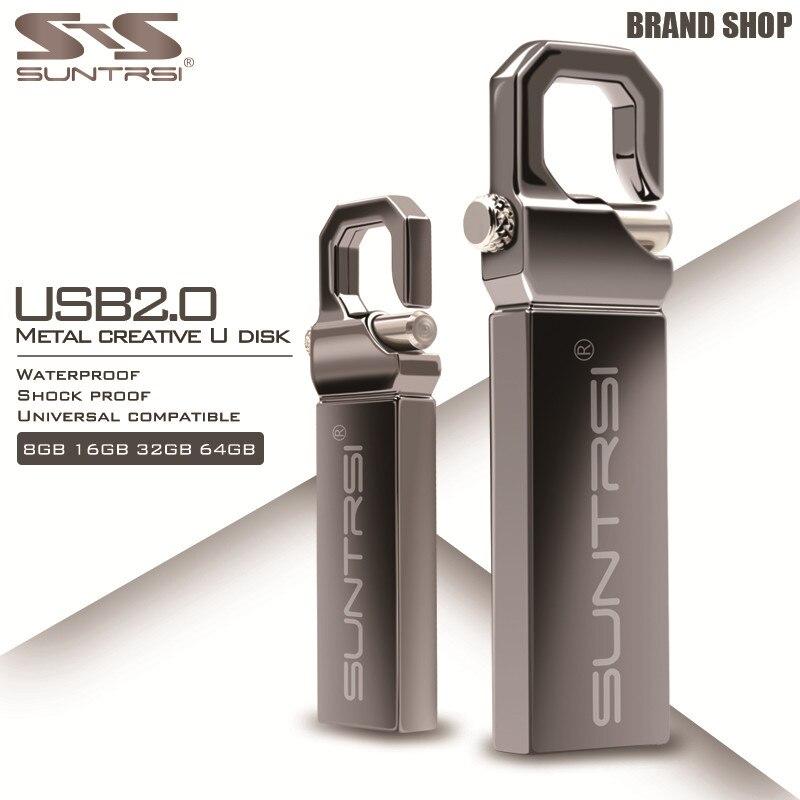 Suntrsi USB Flash Drive 64GB Metal Pendrive High Speed USB Flash 32GB 16GB Real Capacity Pen Drive Flash Drive Gift USB Stick