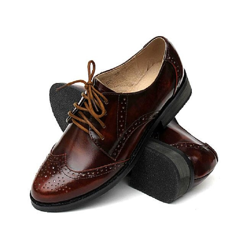 ФОТО Plus Size Euro 33~43 New 2015 Hot Sale Women Genuine Leather Shoes British Style Shoe Brogue Vintage Casual Oxford Shoes