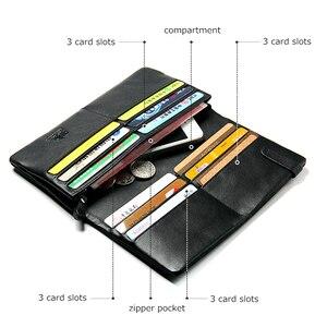 Image 2 - Bison denim bolsa masculina de couro genuíno carteira longa fino preto embreagem masculino carteiras id titular do cartão fino bolsa N4329 1