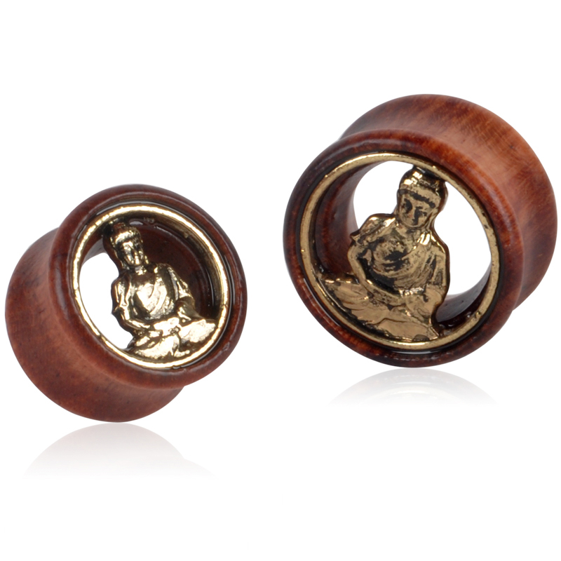 1 Pair Boat Buddha Insert Wood Screw Ear Extender Double Horn Saddle Fashion Body Piercing Jewelry 8mm-30mm Selection