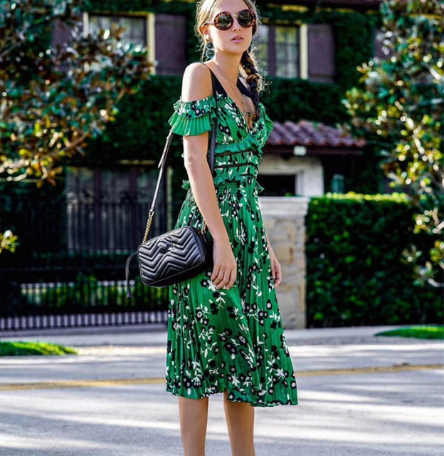 c100b5a8d75 Self portrait dress 2018 Sexy V neck backless off the shoulder Spaghetti  Strap Midi Dress Green Floral Printed Pleated Chiffon