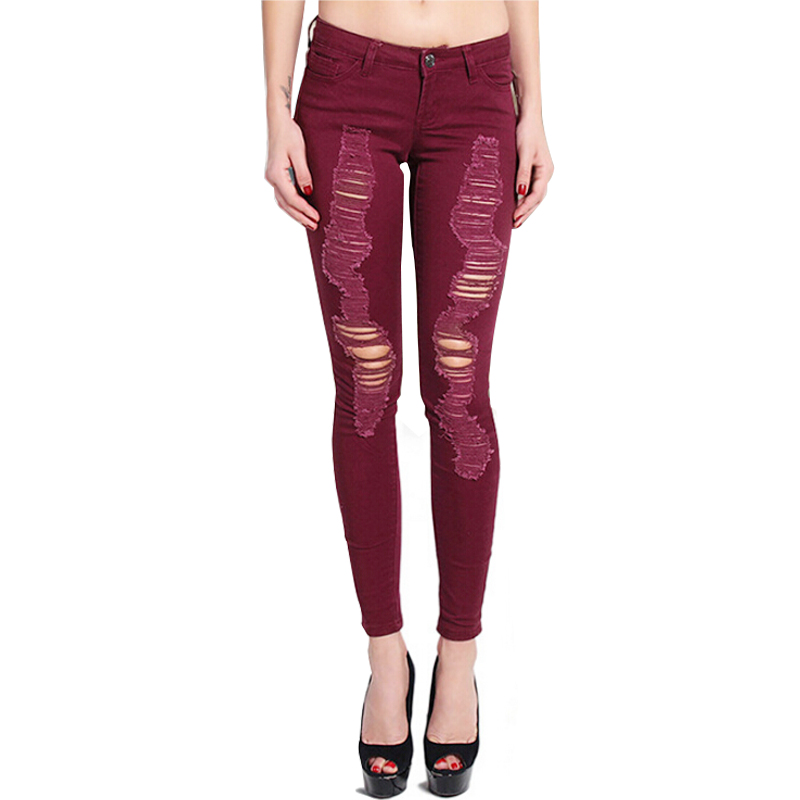 Autumn Fashion Women's Beggar Hole Ripped Skinny Jeans Elastic Slim Wine Red Distressed Full-Length Pencil Pants beggar s feast