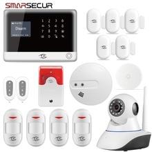 Smarsecur inalámbrico seguridad del hogar WIFI GSM GPRS sistema de alarma aplicación remota Control