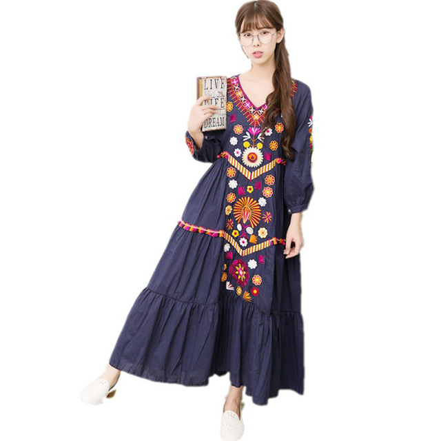 Ethnic Vintage Embroidery Mexican Long Dress Women 2018 Luxury Brand