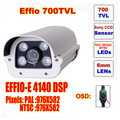 Free shipping video camera ccd sony effio four lamps array led infrared camera osd menu waterproof ir 50m c80h
