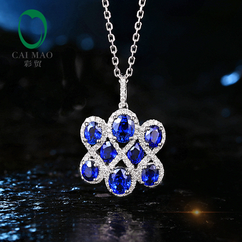Classic 2.54ct Natural Sapphire 14K White Gold & 0.45ct Diamond Engagement Pendant Free Shipping