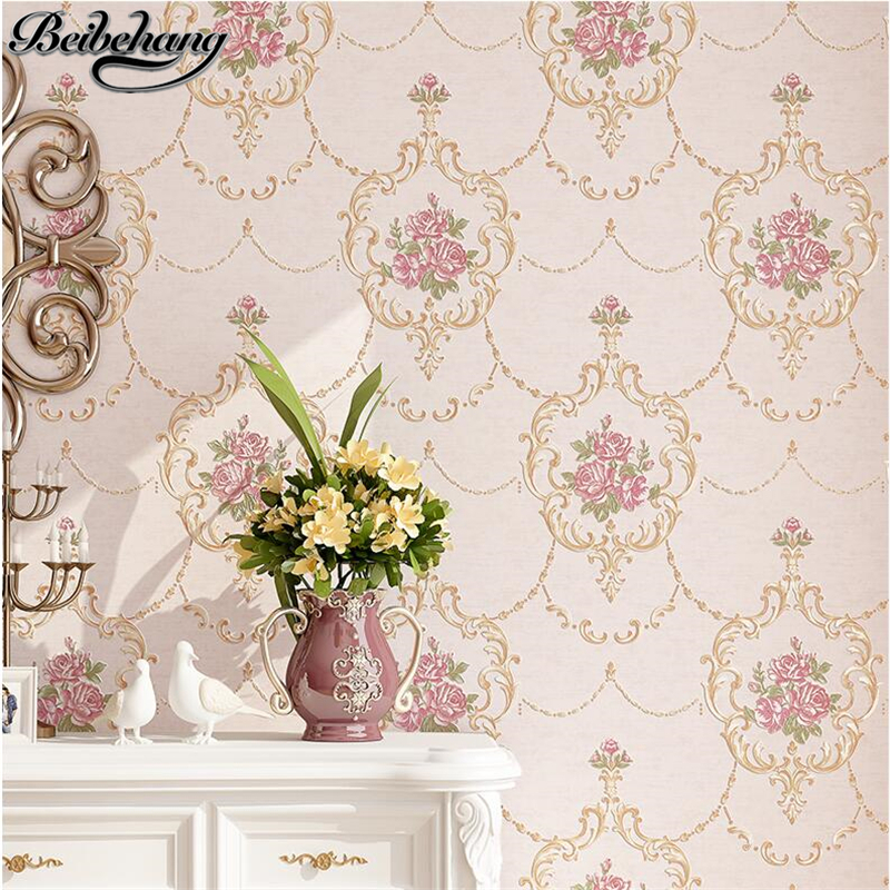 beibehang European style garden 3d flowers non-woven wallpaper flowers warm floral wallpaper bedroom bedside living room TV wall european style garden princess bedroom bedside lamp shade cloth fabric floral lace crystal simple dimmable