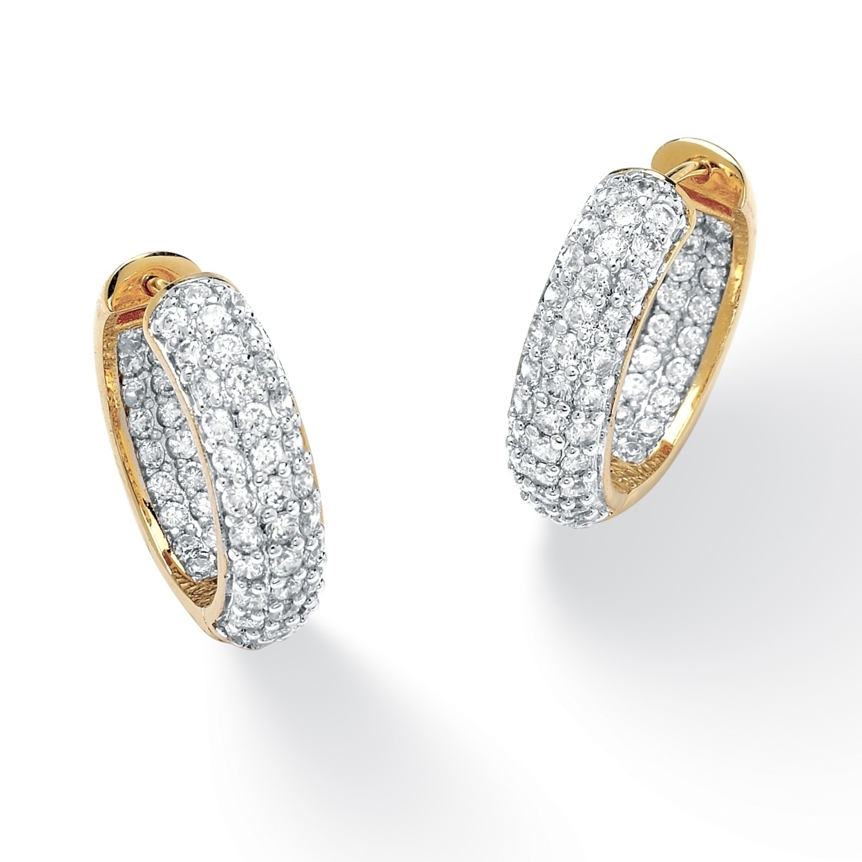 3.21 Tcw Round Cubic Zirconia 14k Gold-colored Huggie-style Inside-out Hoop Earrings inside out