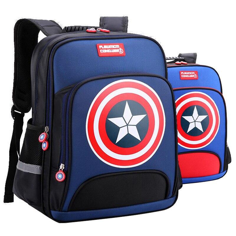 Captain America Children Cartoon Printing School Bags For Boys Orthopedic Waterproof Backpacks Kids Book Bag Satchel Mochila