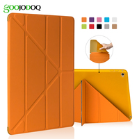 For New IPad 9 7 Inch 2017 Case Silicone TPU Soft Back Smart Cover PU Leather