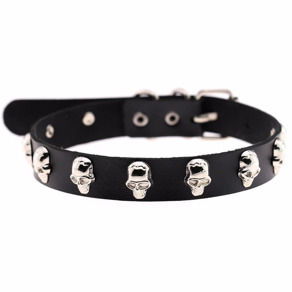16 Colors Rock Punk Style Cosplay PU Leather Choker Necklace Spike Skeleton Torques Statement Necklace Chocker Neck Jewelry