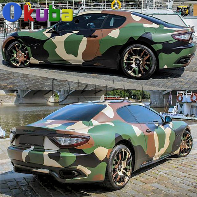 Jumbo Green Jugle Camouflage Vinyl Wrap Car Styling Military Camo Graffiti Film Sticker for Vehicle Body Color Change