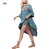YACKALASI Women Dress Flower Print Slim Ladies Vintage Casual Brand Dresses Vestidos Flare Leaves Back Zipper
