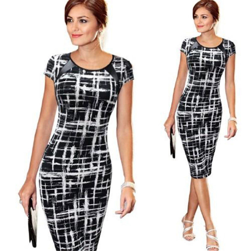 Fashion Women Bandage Bodycon Short Sleeve Sketch Print Dot Star Cocktail Knee Length Pencil Dress US