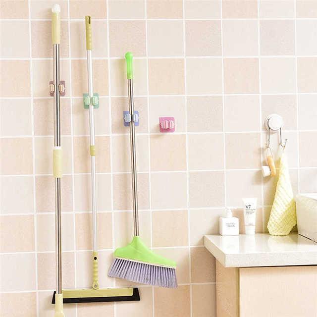 Creative Wall Mounted Storage Rack in Shower Room Mop Organizer Holder Brush Broom Suction on Wall Hanger Storage Rack Kitchen T