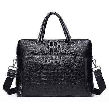 Luxury Crocodile Pattern Men's Briefcase Genuine Leather Handbags Men Business 14 Laptop Bag Real Cow Leather Male Shoulder Bag new cow genuine leather men backpacks fashion real natural leather student backpack boy luxury brand lager computer laptop bag