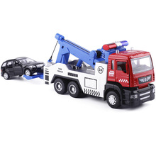 18.5CM fundido TOW TRUCK com 1 carros menores (1/64) W / Light Sound, Pull Back e Return Power